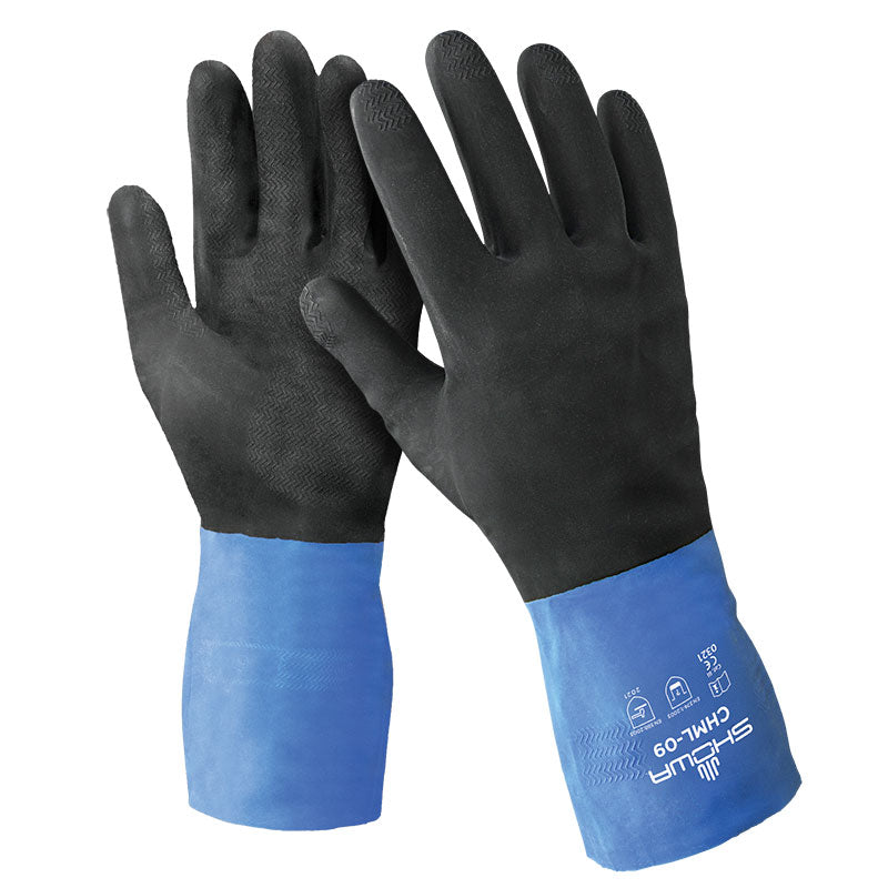 Showa CHM ChemMaster™ Neoprene/Natural Rubber Gloves with Cotton Flock Liner (Pack of 12 Pairs) Work Gloves and Hats - Cleanflow