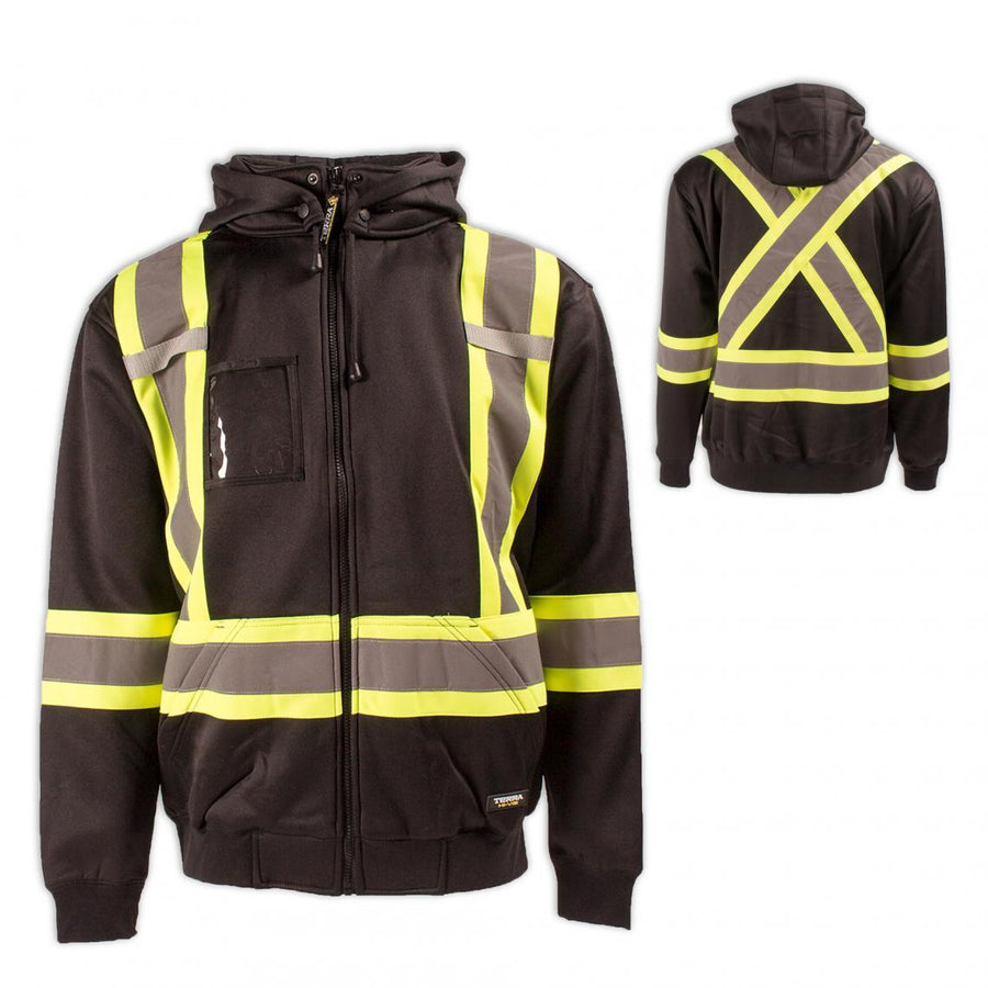 Terra Hi-Vis Fleece Hoodie | Black | S-3XL Hi Vis Work Wear - Cleanflow