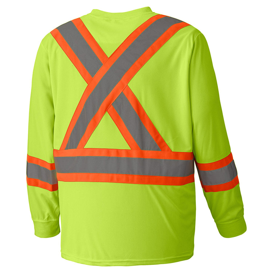 Pioneer 6996 Birdseye Long Sleeve Hi Vis Tee Shirt | Yellow | M-5XL Hi Vis Work Wear - Cleanflow