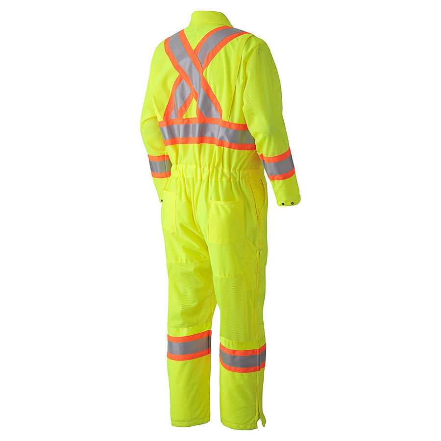 Pioneer Breathable Poly/Mesh Hi-Vis Traffic Coverall | Yellow | M-5XL Hi Vis Work Wear - Cleanflow