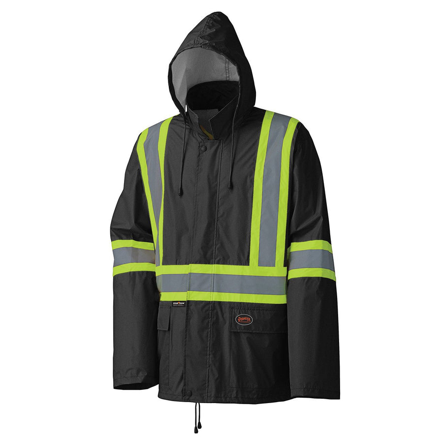 Pioneer 5599BK Lightweight Waterproof Reflective Stripe Rain Suit | Black | S-4XL