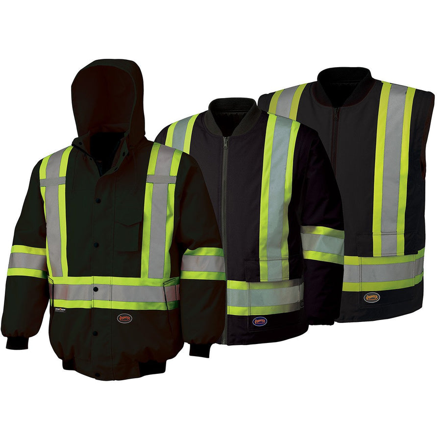 Pioneer Reflective Striped 6 in 1 Winter Work Bomber | Black | Limited Size Selection Hi Vis Work Wear - Cleanflow