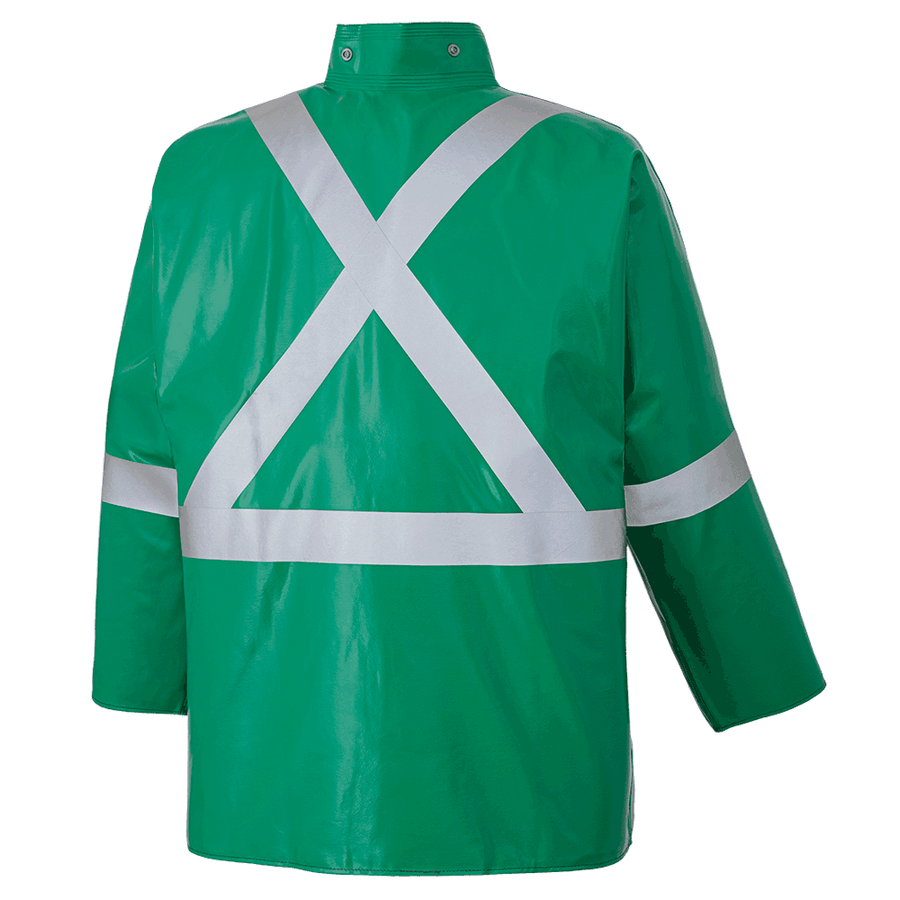 Ranpro CA-43® FR Chemical/Acid Resistant Safety Jacket - PVC/Poly | Green | Sizes Small - 4XL