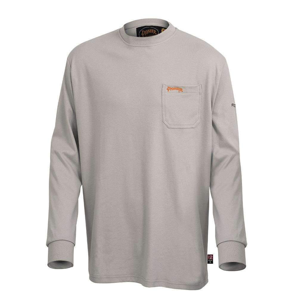 Pioneer FR/Arc Rated Long Sleeved Cotton Work Shirt | Light Grey | Sizes Small to 5XL Flame Resistant Work Wear - Cleanflow