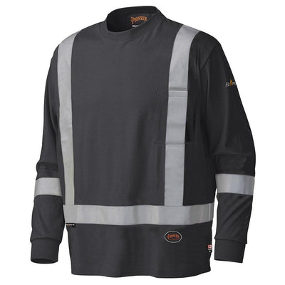 Pioneer 340SFA Flame Resistant Long-Sleeved Cotton Safety Shirt | Black | Sizes Medium to 5XL Flame Resistant Work Wear - Cleanflow