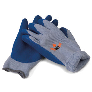 Acrylic Lined Blue Latex Palm Knit Winter Work Gloves | M - XL