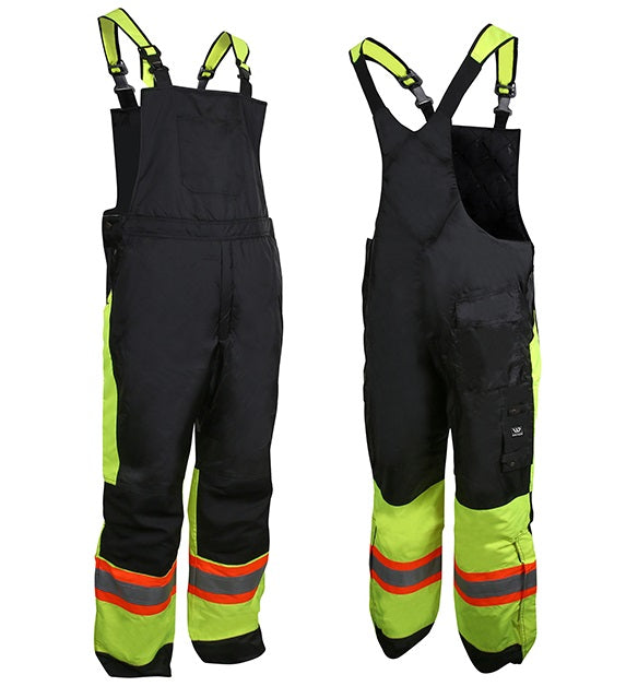 Wenaas 833TCSAY Hi-Vis Quilted Bib Overall | Yellow/Black | S-4XL Hi Vis Work Wear - Cleanflow