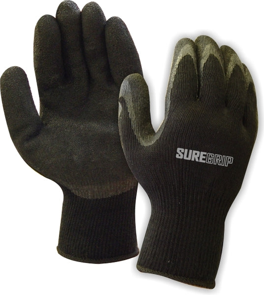 Workhorse Black Latex Coated Winter Thermal Fleece Lined Gloves | Pack of 12 Pairs Work Gloves and Hats - Cleanflow