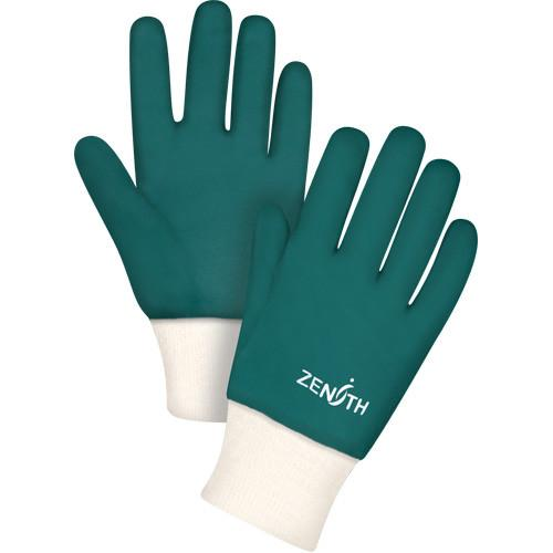 Zenith Green Knit Wrist Double Dipped PVC Rough Finish Gloves | Pk/12 Work Gloves and Hats - Cleanflow