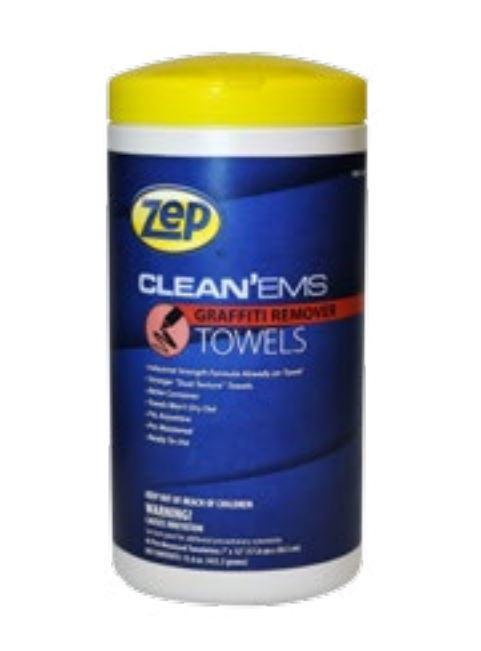 Zep Clean'ems Industrial Graffiti Cleaner Towels | 45 Count Tub - Case of 6 Janitorial Supplies - Cleanflow