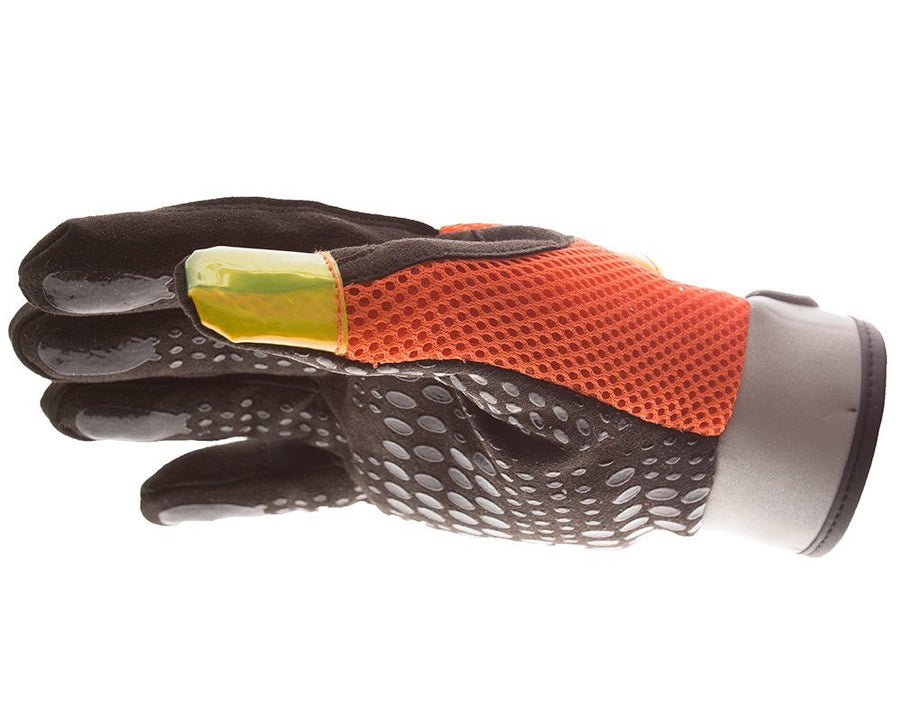 Impacto Hi-Vis Anti-Vibration Mechanic's Style Suede Leather Silicone Grip Glove with Air Glove® Technology Work Gloves and Hats - Cleanflow