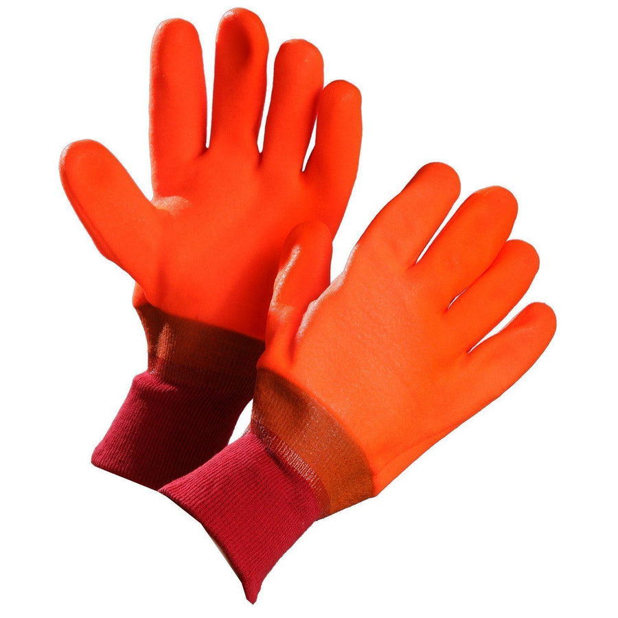 Orange PVC Knit Wrist Winter Work Gloves - Pack of 12 Pairs Work Gloves and Hats - Cleanflow