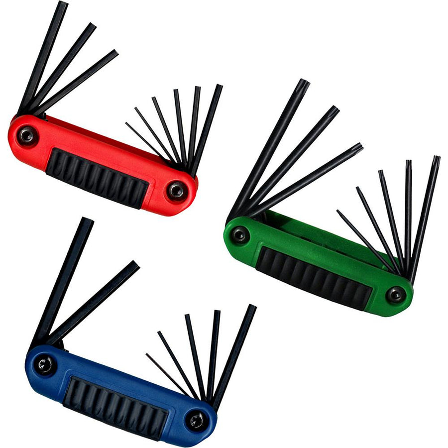 Eklind Metric, Standard & Torx Ergo-Fold Hex Key Set - 3 Pieces Mechanic Tools - Cleanflow