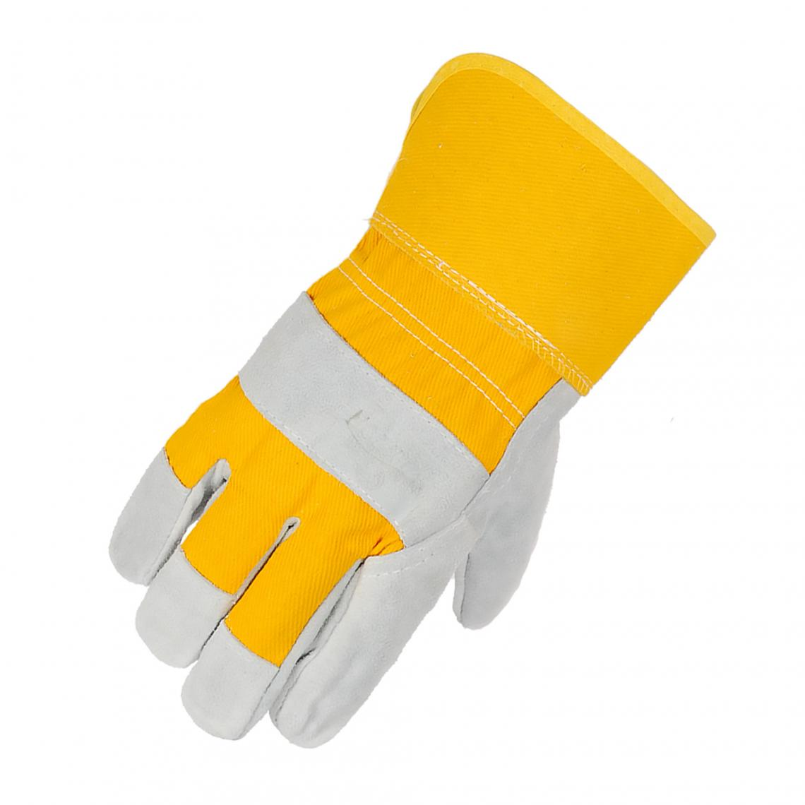 Horizon Canvas Back Cowsplit Palm Rubberized Cuff Work Gloves | Pack of 12 Pairs Work Gloves and Hats - Cleanflow