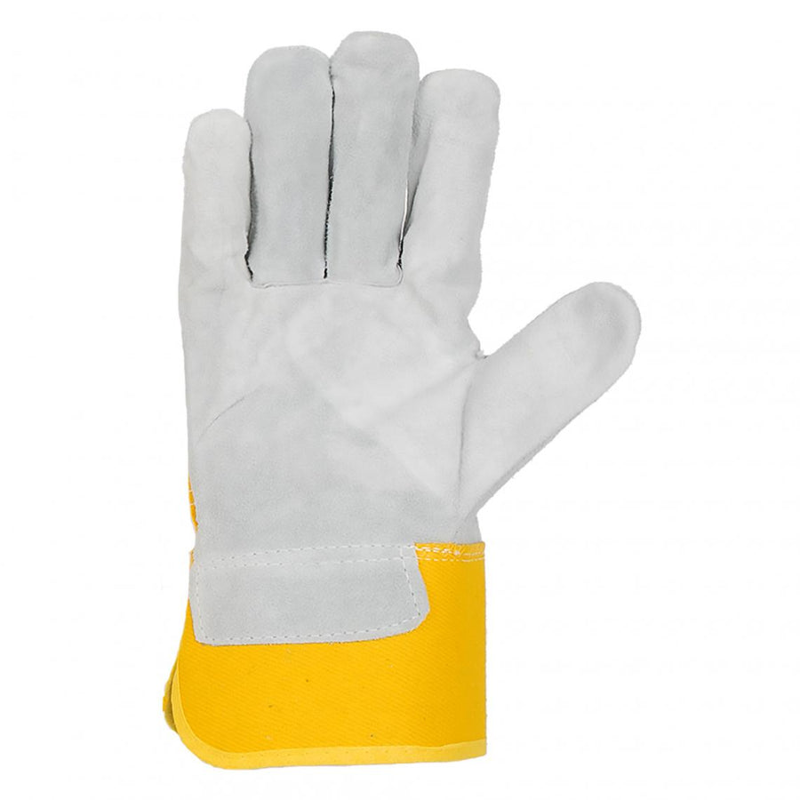 Horizon Canvas Back Cowsplit Palm Rubberized Cuff Work Gloves | Pack of 12 Pairs