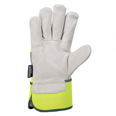 Horizon Hi-Vis Cowhide Thinsulate Lined Winter Gloves | Yellow | Pack of 6 Pairs Work Gloves and Hats - Cleanflow