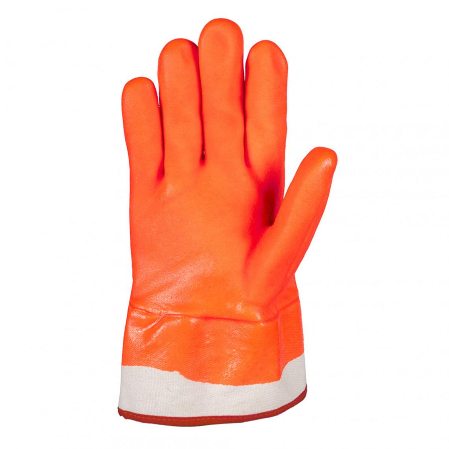 Horizon Winter Lined Orange PVC Safety Cuff Work Gloves | Pack of 6 Pairs Work Gloves and Hats - Cleanflow