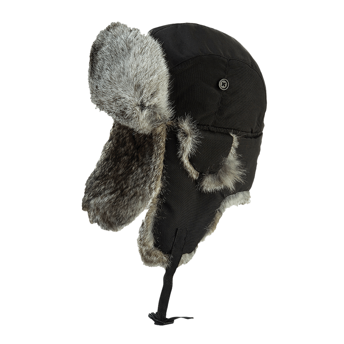 Tough Duck Aviator Hat with Rabbit Fur | Black Work Gloves and Hats - Cleanflow