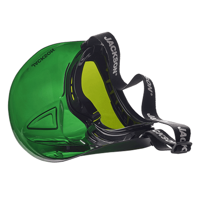 Jackson GPL550 Prem Safety Glasses w/ Green Flip up chin guard Personal Protective Equipment - Cleanflow