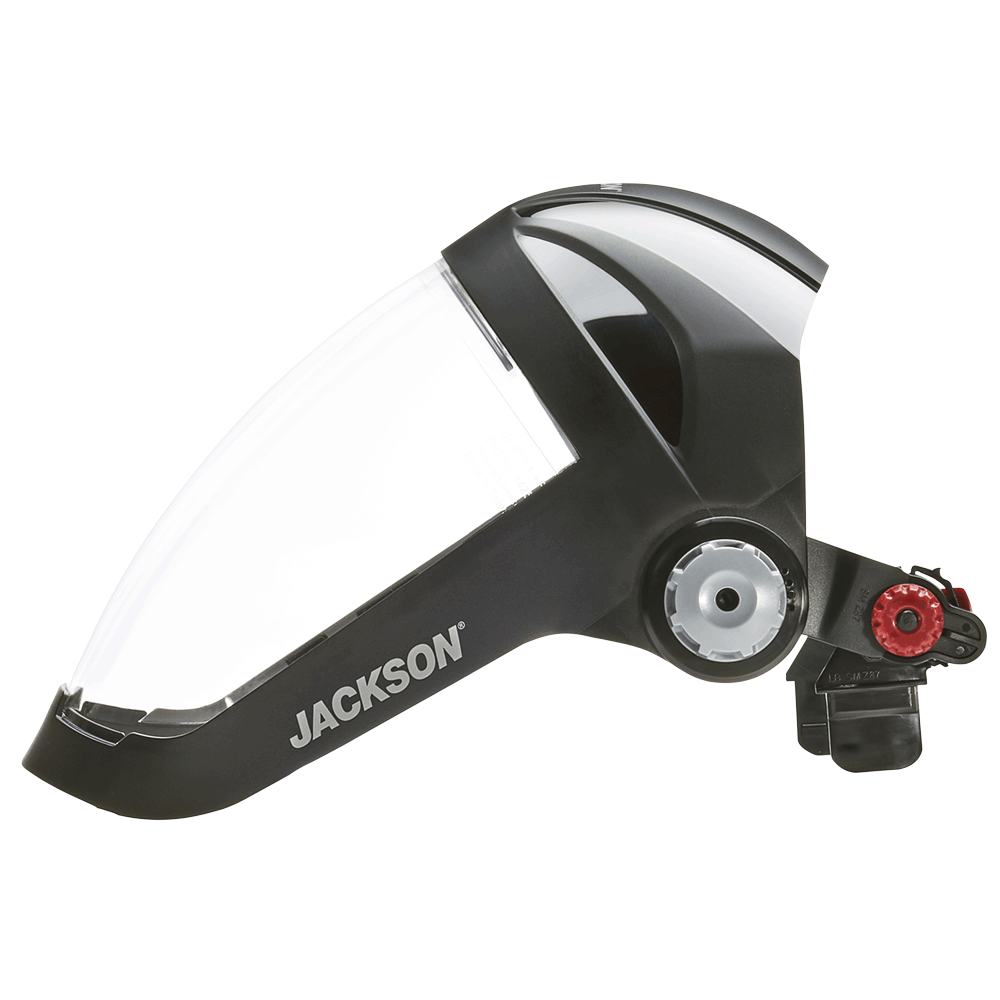 Jackson Quad 500® Series Hard Hat Mountable Complete Faceshield with 370 Speed Dial™ Ratchet Adjustment - Clear Personal Protective Equipment - Cleanflow