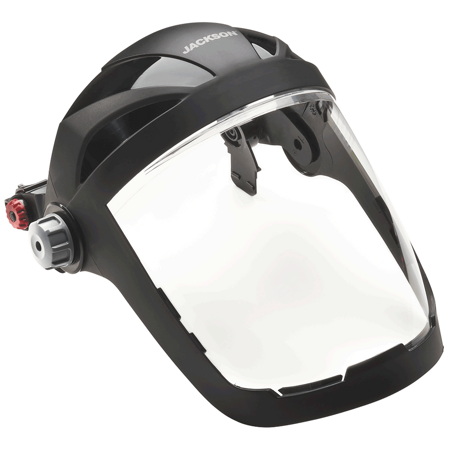 Jackson Quad 500® Series Hard Hat Mountable Complete Faceshield with 370 Speed Dial™ Ratchet Adjustment - Clear