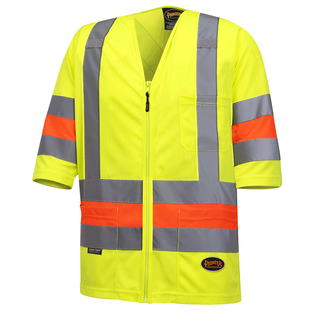 Pioneer Hi Viz Short Sleeved Quebec Traffic Shirt | Yellow | Sizes XS - 4XL Hi Vis Work Wear - Cleanflow