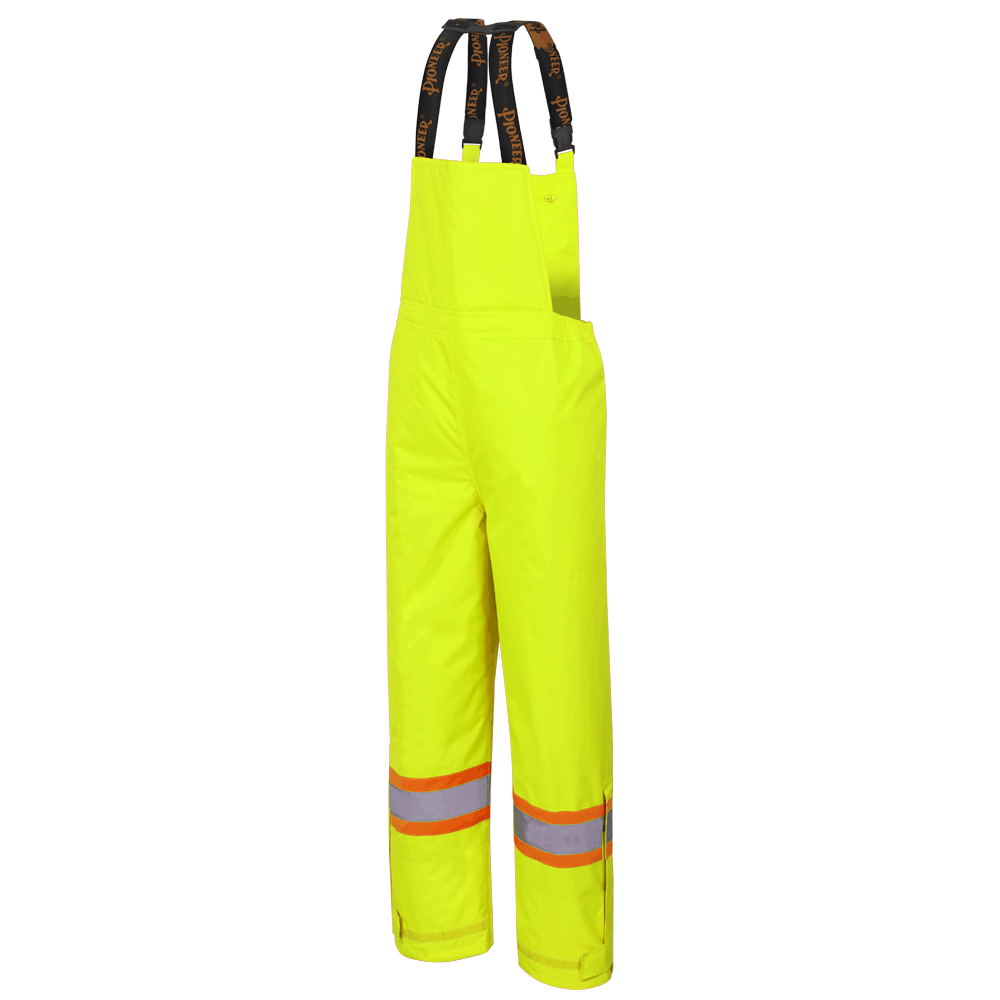 Pioneer 5054 300D Oxford Poly Insulated Bib Pants | Yellow | S-5XL Hi Vis Work Wear - Cleanflow
