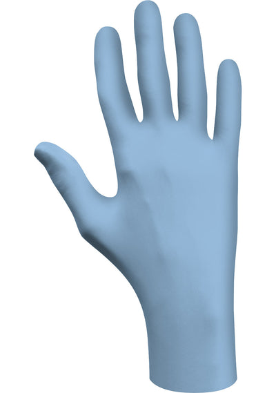 Showa 7500PF Blue Nitrile 4-Mil Biodegradable Powder-Free Examination Gloves - Box of 100 Disposable Coveralls and Gloves - Cleanflow