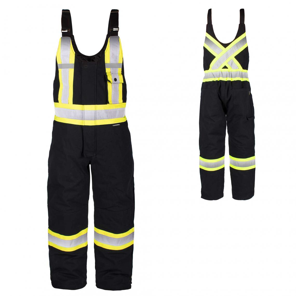 Terra Hi-Vis Canvas Bib Overalls | Black | Limited Size Selection Hi Vis Work Wear - Cleanflow