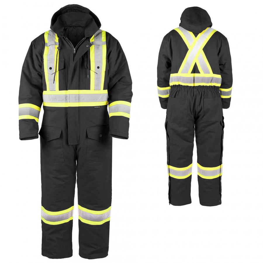 Terra Hi-Vis Canvas Insulated Coveralls | Black | S-5XL Hi Vis Work Wear - Cleanflow