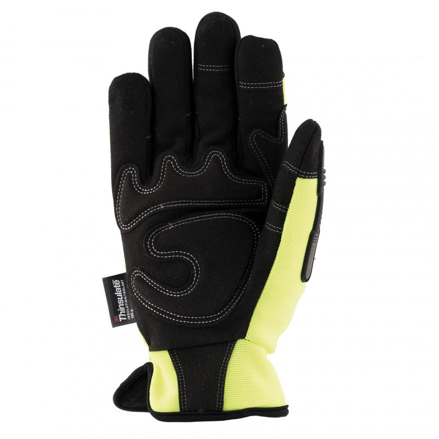 Terra Hi-Vis Mechanic's Thinsulate Winter Gloves | Yellow Work Gloves and Hats - Cleanflow