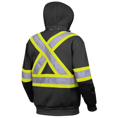 Pioneer Heavyweight Polyester Fleece Safety Hoodie | Black | S-4XL Hi Vis Work Wear - Cleanflow
