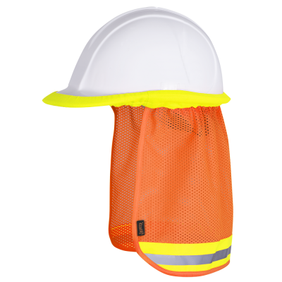 Pioneer Hard Hat Hi-Vis Mesh Sun Shade | Orange Personal Protective Equipment - Cleanflow