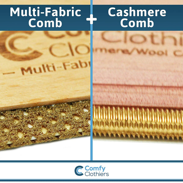 Wood Multi-Fabric Comb & Cashmere Comb Combo