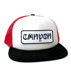 Flat bill foam Trucker with Canyon script patch