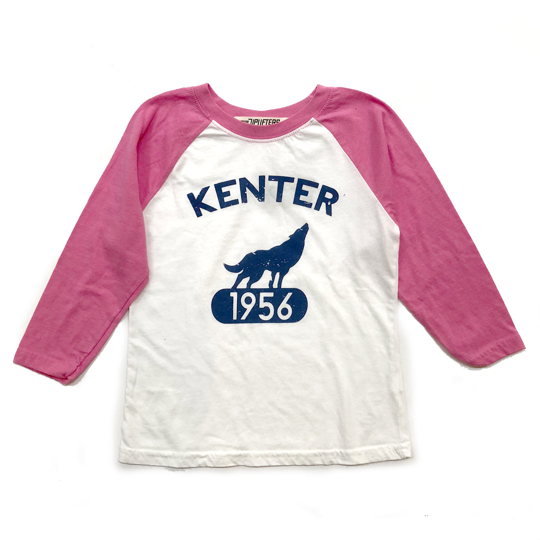 Kenter Kids Baseball Raglan - White w/ Pink Sleeves size XS