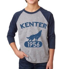 Kenter Kids Baseball Raglan - Grey w/ Blue Sleeves