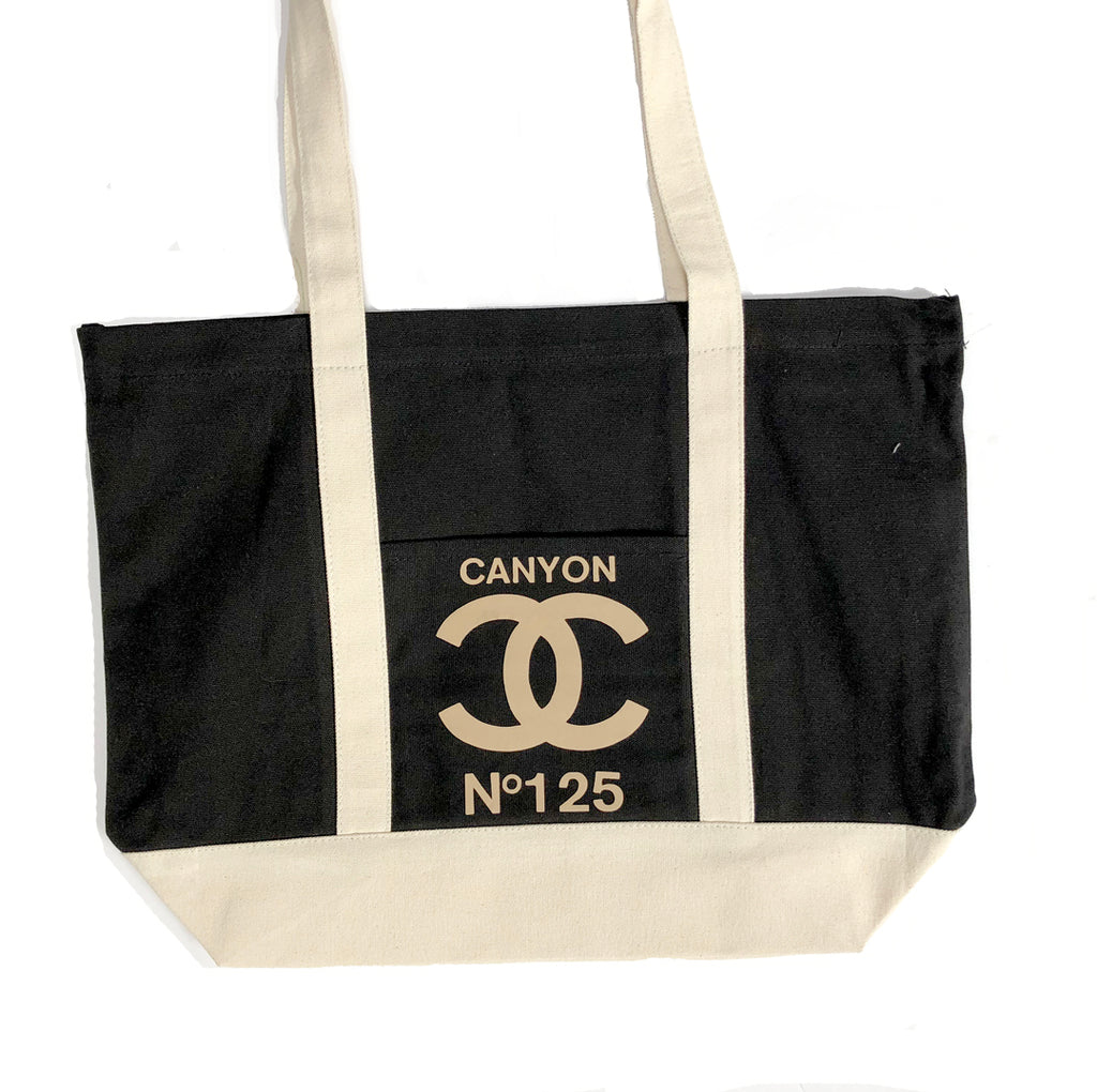 Tote: Double C's black and ivory