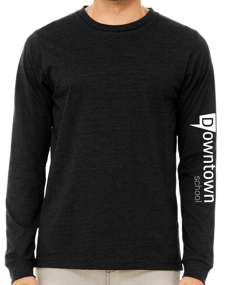 Downtown Long Sleeve Pullover - heathered black