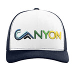 Flat bill Trucker- Rainbow Canyon White on navy