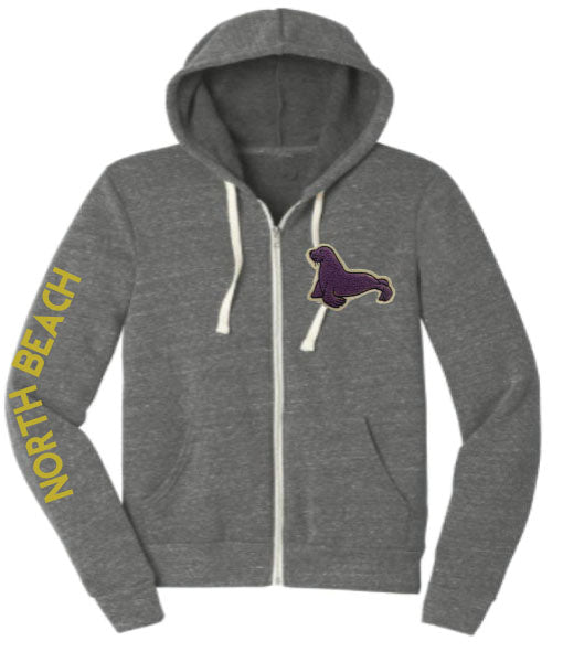 A2. YOUTH Tri Blend Zip Hoodie w/ Seal Patch - charcoal