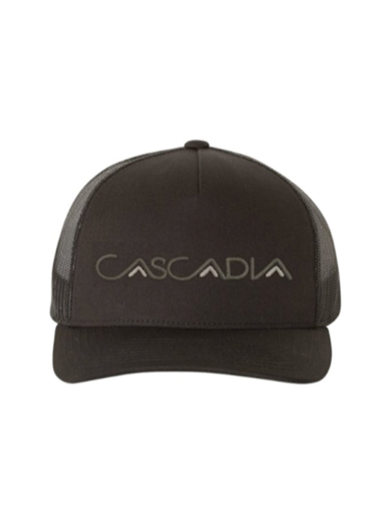 Cascadia Embroidered Trucker Hat in Black