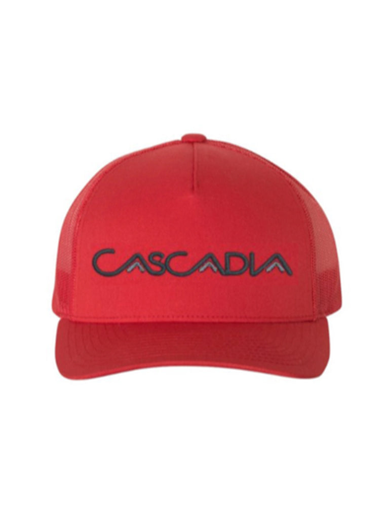 Cascadia Embroidered Trucker Hat in Red