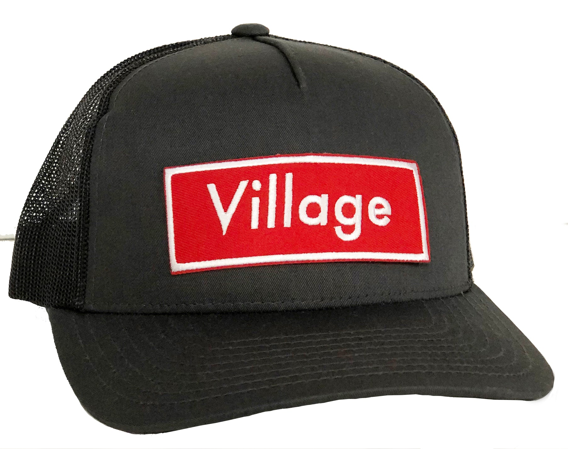 H. Village curved bill charcoal trucker