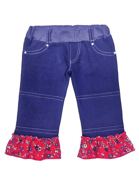 girls,red, white, blue, flower print, ruffles, rhinestone, summer, fun, soft, capri jeans, shop for padded knee pants, toddler, girls jeans, made in USA