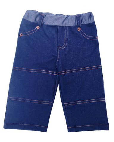 Our classic, soft denim jean with reinforced knee padding is constructed inside with lining.  The perfect pant for active crawlers or tumbling tots.  Contrast top stitching, copper rivets, elastic waist, and back pockets for little treasures.