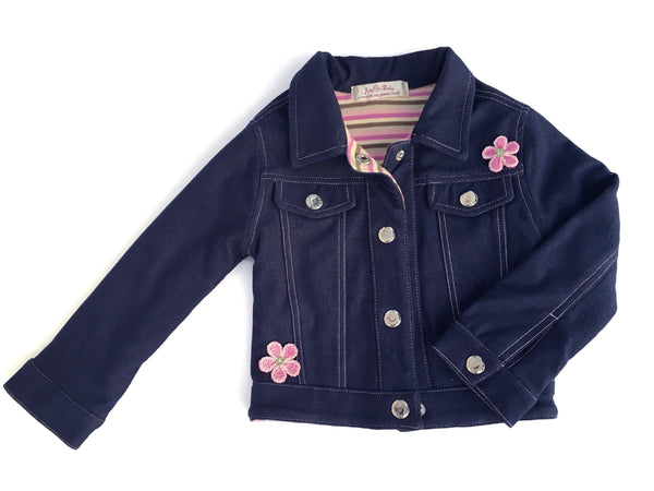 The softest denim jacket with hand stitch design of embroidered flowers and contrast top stitching.  Fully lined with 100% cotton knit, pastel stripe. Hand-crocheted detailing of pink daisies and 'nickel free' silver snap closures for easy on and off.