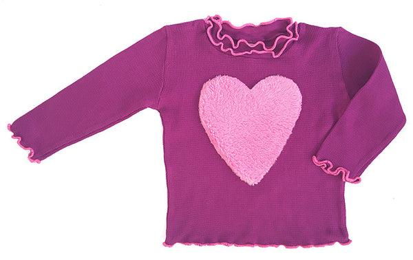Organic cotton,pink, plush, cuddle, heart, applique, stretchy, lettuce neckline, and sleeve trim, best thermal, long sleeve top, tee,jam on baby,made in USA