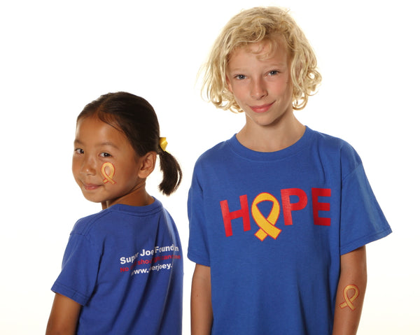 Royal blue cotton tee with HOPE screen print on front, Super Joey Foundation, No child should fight cancer alone, superjoey.org