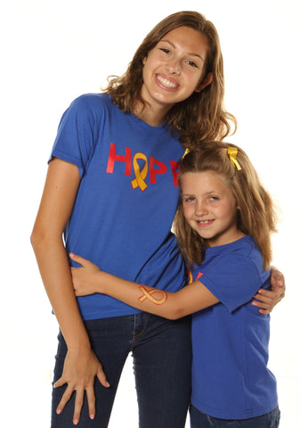 Royal blue, vintage style, soft cotton tee with HOPE screen print on front, Super Joey Foundation, superjoey.org